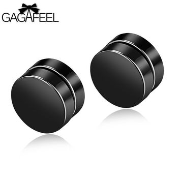 GAGAFEEL Magnetic Stud Earrings Men Earring Jewelry Stainless Steel Authentic Classic Round