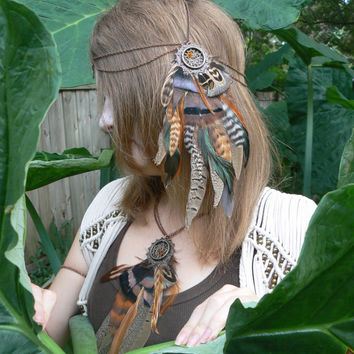 head chain dreamcatcher feather head chain headdress Earthtone halo head piece in tribal Native American boho gypsy hippie hipster style