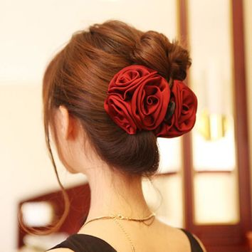 Korean Beauty Ribbon Rose Flower Cloth Hairclip Barrette Hair Claws For Women Headwear Hair Accessories Hair Clips Headband