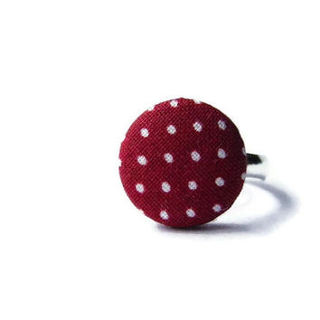 Fabric button ring adjustable red polka dots white Valentines Day gift for her romantic