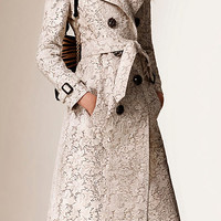 Lace-Effect Calfskin Trench Coat