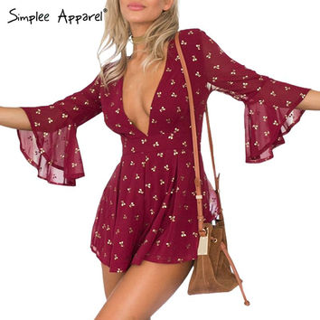 Simplee Apparel Gilding cherry chiffon elegant jumpsuit romper Summer style beach playsuit Women sexy deep v neck short overalls