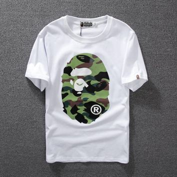 DCCK2x 1135 BAPE Green camouflage ape-man head cotton breathable T-shirt