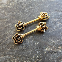 Set !! Pair !! Gold Flower Barbell 14g (1.6mm) - nipple cartilage conch piercings