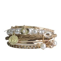 Lureme® X-mas Pink or Beige Braided Leather Pearl Charm Crystal Gold Tone Stackable Bangle Bracelet Set for Women 600180
