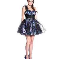 Black Tulle & Printed Satin Ruffle One Shoulder Dress 2015 Prom Dresses