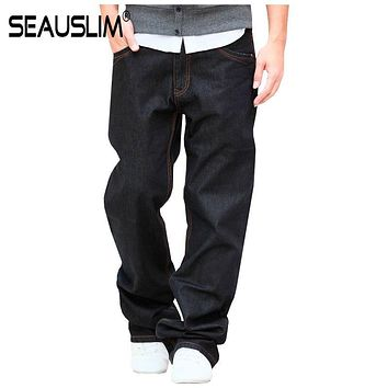 SEAUSLIM Black Baggy Jeans Men 2017 Fashion Men Straight Jean Pant Big Size 48 42 33 34 36 38 Casual Loose Style Jeans Q-GZZL-02