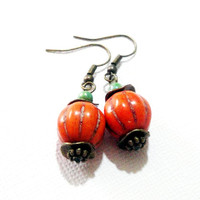 Orange Pumpkin Earrings,  Orange Gemstone Pumpkin Brass Dangle Earrings, Harvest  Fall  Autumn Jewelry,  Halloween Earrings
