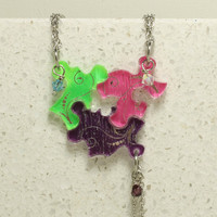 Friendship Puzzle Piece necklaces Set of 3 pendants with Crystals