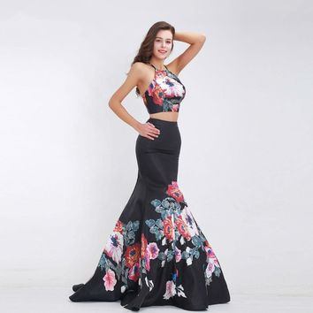 Black Two Piece Prom Dresses Halter Sexy Backless Pattern Mermaid Long Elegant Special Occasion Dresses Party Gowns