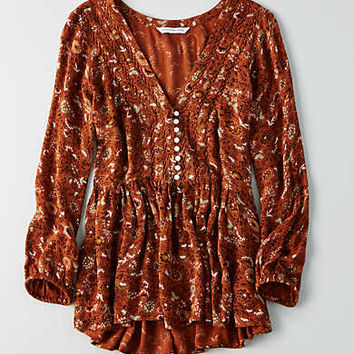 AEO Printed Button Top, Orange