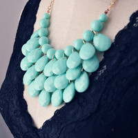 Teardrop Statement Bib Necklace Kate Spade Inspired Minty Aqua