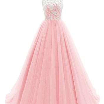 Dresstells® Long Prom Dress Tulle Evening Dance Bridesmadi Gown with Lace