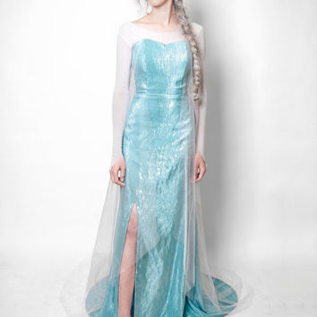 Queen Elsa Frozen Costume (Dress, Shirt, and Cape)
