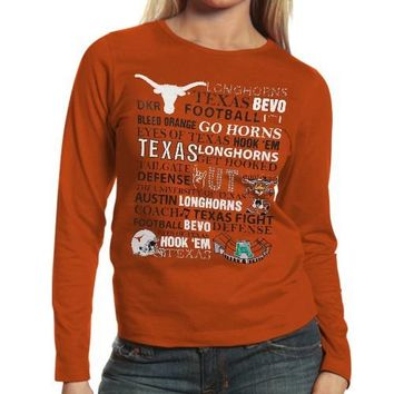 Texas Longhorns Ladies Picture Story Long Sleeve Premium T-Shirt - Burnt Orange