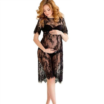New Women Lace Dress Casual Long Black Short Sleeve O Neck See Through Beach Wear Dresses B4