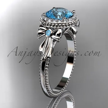 14kt white gold diamond unique engagement ring, wedding ring ADER157 with blue topaz center stone