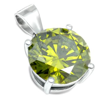 .925 Sterling Silver Peridot Pendant in Brilliant Round Cut for Ladies and Kids
