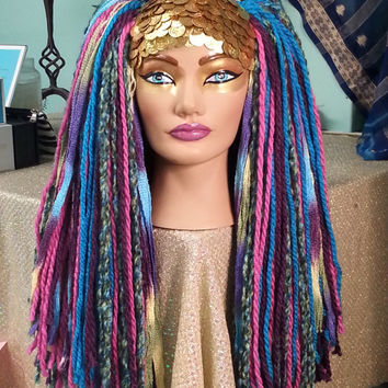Fluffy Multi Colored Yarn Headdress Hair Fall Wig in Pinks, Blues, Purples with Gold Bellydance Coins ATS Bellydance SCA Cosplay Burlesque