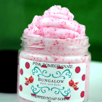 Pink Pomegranate Whipped Soap Scrub with Jojoba Beads - 2oz - Vegan - Paraben & SLS Free