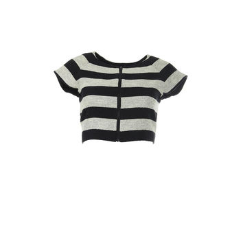 Alice + Olivia Womens Textured Striped Crop Top