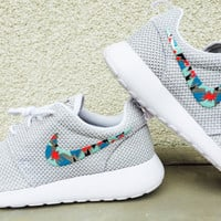 Womens Custom Nike Roshe Run sneakers, Abstract pattern design, Hot Pink, Blue, Teal, trendy design, Platinum White and silver nike roshe