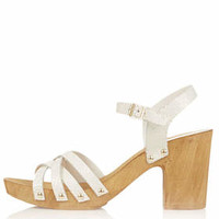 NANCY Chunky Wooden Sandals - White