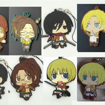 Cool Attack on Titan  Anime keychain Krista Lenz Rivaille Eren Armin Sasha Mantra Rubber strap/phone charms AT_90_11