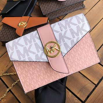 MK Womem Shopping Bag Pink White Contrast More print MK letters Bag Flip metal buckle Messenger bag
