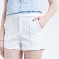 Low Waist Pleated Mini Shorts