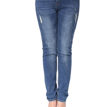 Plus Size Women Denim Ripped Skinny Jeans