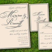 Victorian Classic Formal Ivory Grey Customizable Wedding Invitation and RSVP Card Suite - Printable