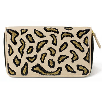 Nude Animal Print Clutch Wallet