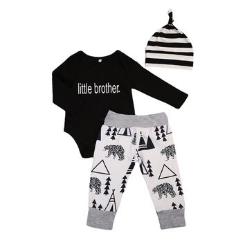 3pcs Infant Baby Boys Clothing Little Brother Romper + Long Pants +Striped Hat Outfits Baby Clothing