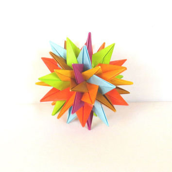 "Modular Origami Ball 4"", Christmas Ornament, Paper Sculpture, Spiky Geometric colorful"