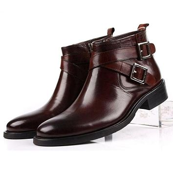 Genuine Leather Double Buckle Black Brown  Ankle High Men Boots Shoes