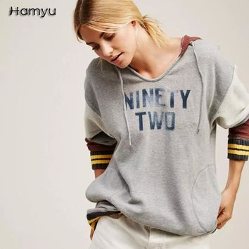 2017 New Fashion  Women Spring Western Street BF Style Hoodies NINETY TWO Letter Printed  Loose Round-neck Pullover With Hat