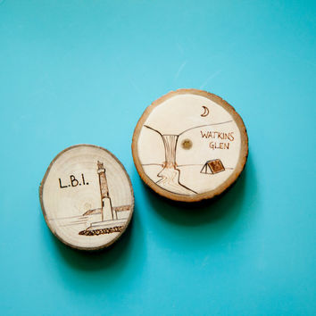 Custom Souvenir Magnets. Wood Burned Camping Scene or Beach Scene with Lighthouse, or something else of your choosing!