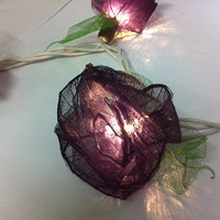 20 Black emo handmade real leaf Rose flower leaf string light patio decoration wedding bedroom living room party lantern