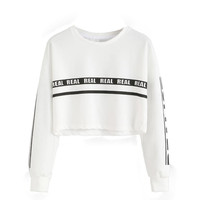 Fashiuon Crop Top Sweatshirt Women Fashion White Letter Print Crop Sudaderas Mujer Women Hoodies Sweatshirts Top