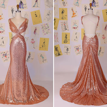 Sexy Gold Sequins Hollow Open Back Mermaid Prom Dress/Gold Sequin Dress/Gold Sequin Evening Party Dress/Long Mermaid Prom Dress DAF0014