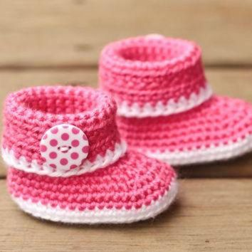 DCCK8X2 Crochet Baby Booties - Pink and White Baby Shoes - Baby Booties Baby Boots Crib Shoes