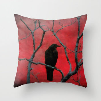 Crow Art, Red And Black, Nature Image,Raven, Blackbird - Red Vision Pillow Cover