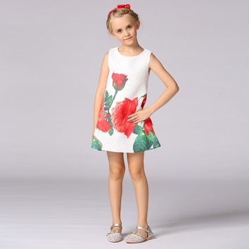 Retail New Hot Lifelike Beautiful Flowers Printing Pattern Little Girl Kids Communion Dress A line Flower Girl Dresses L-113