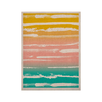 "Anneline Sophia ""Painted Stripes Peach"" Pink Teal KESS Naturals Canvas (Frame not Included)"