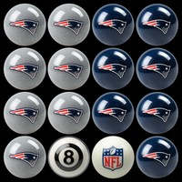 New England Patriots Home vs. Away 16-pc. Billiard Ball Set (Blue/Silver)