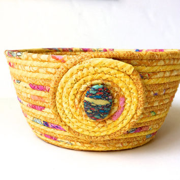 Coiled Rope Basket Clothesline - Sunshine Yellow -  Gold Upcycled Planter - Handmade Homemade Quilted - Fiber Art Organizer by Sally Manke