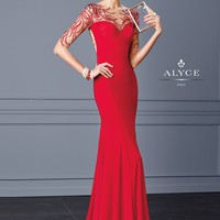 Black Label by Alyce 5705 Beaded Illusion Jersey Evening Gown