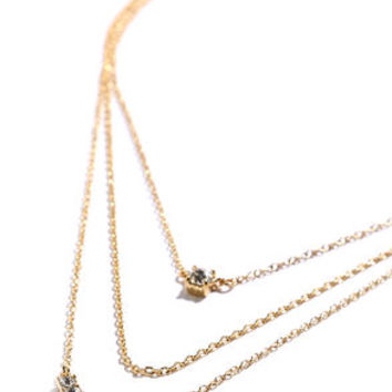 More Than a Crush Gold Rhinestone Layered Necklace