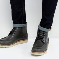 Dead Vintage Lace Up Boots In Black Leather at asos.com